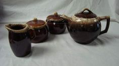 #Vintage #pottery shopgoodwill.com: Vintage Hull And McCoy Pottery Brown Drip Tea Set
