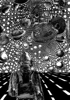 realsurrealfeel:Cosmos by Pushwagner Modern Art, Contemporary Art, Graphic Novel Art, Psy Art, Hare Krishna, Art Inspo, Graphic Illustration, Cosmos, Collage Art