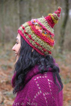 Happy pink fuchsia crimson kaki pixie hat pointy hat