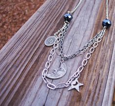 Celestial Layered Silver Necklace by BadGirlForeverJewels on Etsy, $15.99