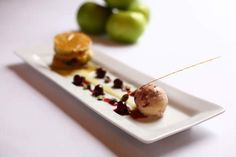 Steven James' Caramelised Bramley Apples with a Pistachio Financier and Cherry Ripple Ice Cream Recipe Celebrity Chef, Chef Recipes, Ice Cream Recipes, Pistachio, Apples, Panna Cotta, Caramel, Cherry, Pudding
