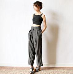 Hermes Pleated Pants Grey Wool High Waist Trousers France preppy office minimalist tailored menswear slate dress slacks