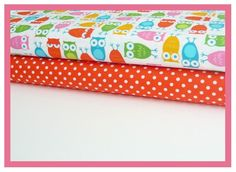 Owls in White and Clementine Dumb Dots