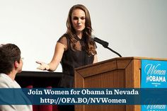 Natalie Portman speaks at the Nevada Women's Summit. Here's a blog she wrote about why she supports President Obama: http://OFA.BO/9kHtX4