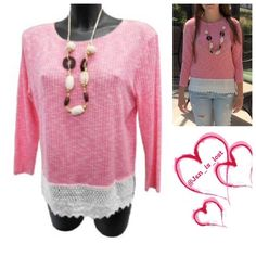 Knit Top S,M,L, 3X Pink and Off white knit top.  Great for those cooler spring days and afternoons.  Pair with capris, shorts, or a light color pant.  Necklace is a complimentary gift with this as pictured !  Material is 60% viscose, 35% polyester and 5% elastane.   No trades  ✅ Reasonable offers welcomed. ✅ Happy Poshing  Tops
