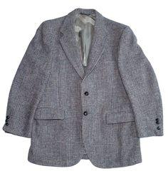 Harris Tweed Houndstooth Blazer Suit Sport Jacket Coat Leather Buttons 40R VTG #HarrisTweed #TwoButton
