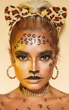 Costume Halloween Homme, Cute Halloween Makeup, Diy Halloween Costumes For Women, Woman Costumes, Creative Makeup, Simple Makeup, Cheetah Costume, Cheetah Makeup, Leopard Eyes