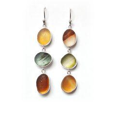 Sea Glass Three Drop Silver Earrings Autumn Fall by ShardsbyTania