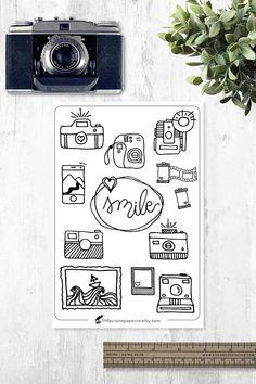 Bullet Journal & Planner Stickers Camera Doodles- Print and color! #ad #bujo #doodles #bulletjournaljunkies