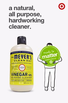 Make cleaning easier without the harsh chemicals with this vinegar gel cleaner from Mrs. Meyer's Clean Day. It's made with a concentrated gel for a more controlled clean and is especially tough on hard water stains and soap residue. This cleaner and other Mrs. Meyer's Clean Day products are part of Made to Matter, handpicked by Target, a group of products from 20 purpose-driven brands created to give you more natural, organic and sustainable options for everyday needs.