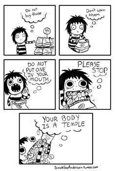 Everyone can relate to this. Sarah Andersen and her wonderful comics! Sarah Andersen, Sarah's Scribbles, The Awkward Yeti, Internal Monologue, 4 Panel Life, Funny Commercials, Body Is A Temple, Humor Grafico, Monologues