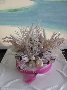 Starfish Seashell Coral Beach Wedding Cake Topper~Pink Purple Coral Cake Topper