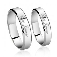 White Gold Plated 925 Sterling Silver Lover Rings With Inscription Love Forever(Price For a Pair)