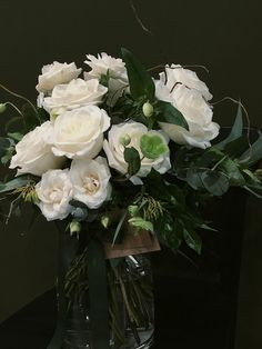 White and Green Vase Arrangement with Hellebores, Roses, Willow and Eucalyptus Gum Floral Wedding, Wedding Flowers, Dish Garden, Order Flowers Online, Sympathy Flowers, Vase Arrangements, Green Vase, Floral Foam, Gerbera