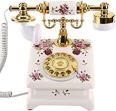 SXRDZ European Ceramic Retro Phone/Antique Landline Rotary Dial/Classic Old-Fashioned Phone, White Gold Home Decor, Brown Home Decor, White Home Decor, Vintage Home Decor, Smartphone Shop, Retro Phone, White Houses, Antiques, Ideas