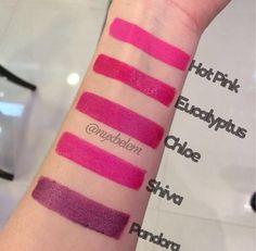 Swatches de alguns batons da linha Round Lipstick feitos pelo Beauty Team da NYX do Shopping Boulevard Belém