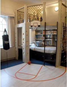 loft area, two double beds, mini bbal court, punching bag, AND rope ladder?? this is the ultimate boy's #bedroom!