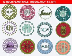 Monogram Circle Decal, Vinyl Decals, Personalized Sticker, Mug Decal, Custom skins, Yeti Decal, Stainless Tumbler Circle Monogram Stickers