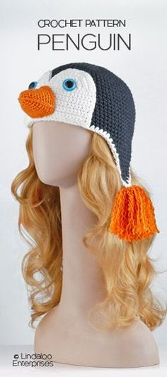 "PENGUIN amigurumi hat crochet pattern. From the Book ""Amigurumi Animal Hats"". All 20 hat crochet patterns in the book are amazing!"