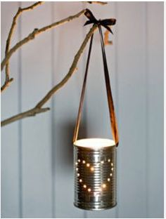 DIY tin can lanterns. Fill with water, freeze and nail Christmas Lanterns, Christmas Diy, Do It Yourself Inspiration, Wedding Vases, Wedding Reception, Wedding Lanterns, Wedding Bouquet, Wedding Table, Wedding Favors
