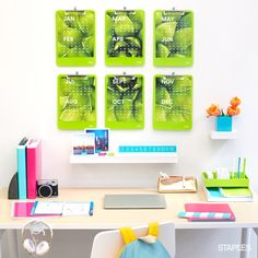 Who says study spaces can't be stylish, too? Help your student stay focused this year by setting up a study zone they'll actually want to spend time in — you can start by adding a splash of color. Desk Storage, Craft Storage, Storage Organization, Back To College, Back To School, Color Splash, Color Pop, Study Space, Bright Ideas