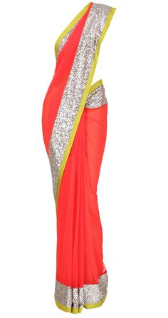 Red Net Saree wit Sequin border by Manish Malhotra