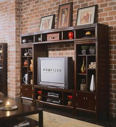 American Drew Tribecca Entertainment Wall Unit with 51 in. 4 Season Room, Wall Unit Designs, Entertainment Center Wall Unit, Modern Bookcase, Home Decor Store, My Living Room, Family Room, New Homes, The Unit