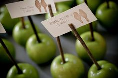 An eco-friendly escort card idea that's perfect for a fall wedding! {2be Photography}