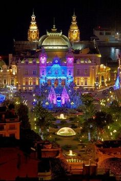 Monte Carlo Casino at night is a gambling and entertainment complex located in Monaco.  It includes a casino, the Grand Theatre de Monte Carlo, and the office of Les Ballets de Monte Carlo.  Photo: indulgy.com/post/casinos