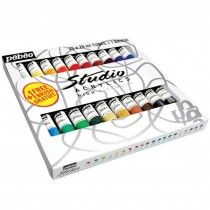 Pebeo Studio Acrylic High Viscosity 20x 20ml Paints Brush
