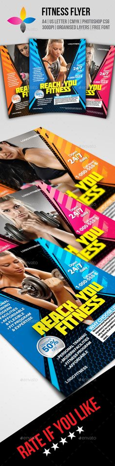 Fitness Flyer by inddesigner A4 8.2677x11.6929 US Letter 8.5x11 Bleed 5 mm Photoshop CS6 300dpi CMYK Aileron: http://dotcolon.net/font/aileron/ Molot: h