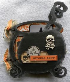 Other: Witches Brew mini ***Scrappy Chic Cafe*** Halloween Mini Albums, Halloween Scrapbook, Halloween Books, Halloween Cards, Halloween Stuff, Halloween Diy, Mini Scrapbook Albums, Scrapbook Paper Crafts, Scrapbook Cards