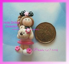 Girl wt Little Bear Polymer Clay Charm Bead by rainbowdayhappy, $2.75