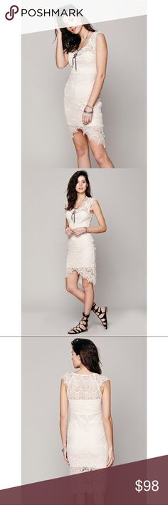 """FREE PEOPLE lace slip dress Stunning cream lace slip dress from Free People. Bodycon style that clings to the body. Asymmetrical bottom hem with sides longer than the center. No zipper - easy to put on over your head. Frayed lace on the sleeves. Approx. 32.5"""" bust, 29"""" waist, and 34"""" length (based off of size small).   Size: S Retail: $98 Free People Dresses Mini"""
