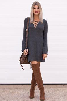 Liana Grey Lace Up Long Sleeve Dress