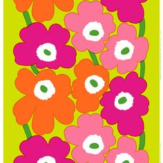Marimekko Unikko HW Lime/Pink/Orange Fabric $48.00