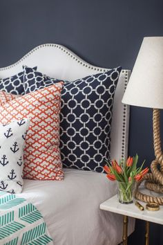 "Guest Room......Caitlin Wilson Textiles ""Anchors Away"" Collection - love the patterns and colors together!"