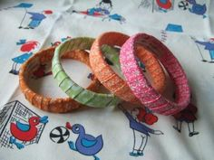 cardboard tube bracelets - just wrapped w/ribbon I think.