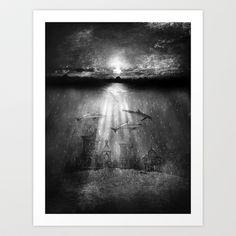 dolphins, civilization. Art Print by Viviana Gonzalez - $19.95