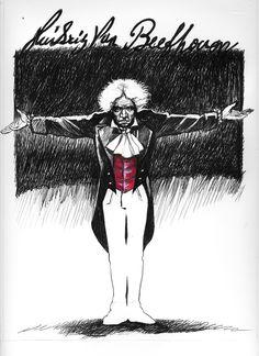 #LUDWIG VAN BEETHOVEN ink - watercolor