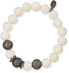 Sheryl Lowe 10mm Bone & Pave Diamond Beaded Bracelet on shopstyle.com