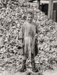 """February 1912. """"Tiny, a seven-year-old oyster shucker (sister of Henry, No. 3291), does not go to school. Works steady. Been at it one year. Maggioni Canning Co. Port Royal, South Carolina."""" Photograph by Lewis Wickes Hine.  Shorpy Historic Picture Archive"""