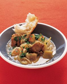 Pork and apple stew (from Martha)--need to try a variation of this with the pork stew meat I accidentally bought
