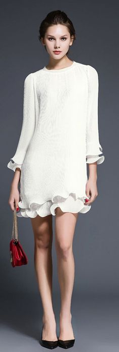 White Ruffled Sleeves Ruffled Hem Pintuck Dress