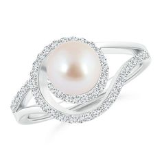 Best Diamond Engagement Rings : Akoya Cultured Pearl Spiral Halo Engagement Ring with Diamond Accents. - Buy Me Diamond Pearl And Diamond Ring, Best Diamond, Disney Engagement Rings, Diamond Engagement Rings, Pearl Jewelry, Diamond Jewelry, Pearl Rings, Pearl Bracelets, Pearl Necklaces