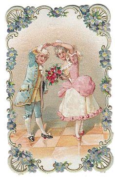 Glanzbilder - Victorian Die Cut - Victorian Scrap - Tube Victorienne - Glansbilleder - Plaatjes : Paar im Blumenrand