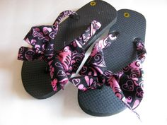 Black Pink Decorated Flip Flops