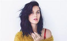 Lataa kuva Katy Perry, amerikkalainen laulaja, muotokuva, ruskeaverikkö, keltainen pusero, Katheryn Elizabeth Hudson
