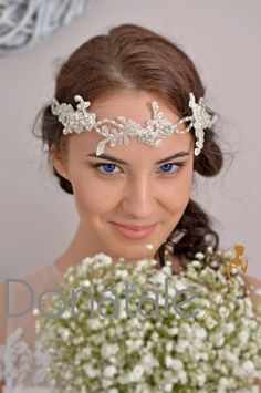 SALE LILI - Bridal Headpiece Wedding Headpiece Bridal Hair Flowers Lace Headband Tiara Flower Hair Vine Wedding Accessories UK