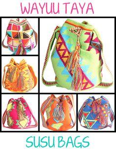 Tribal Print Bags by The Wayuu Taya Foundation. Hand-woven Susu Bags made in Venezuela - Bright Colors